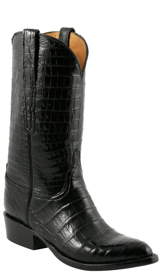 Lucchese L1420 Mens Black All-over Caiman Crocodile Cowboy Classics Boots