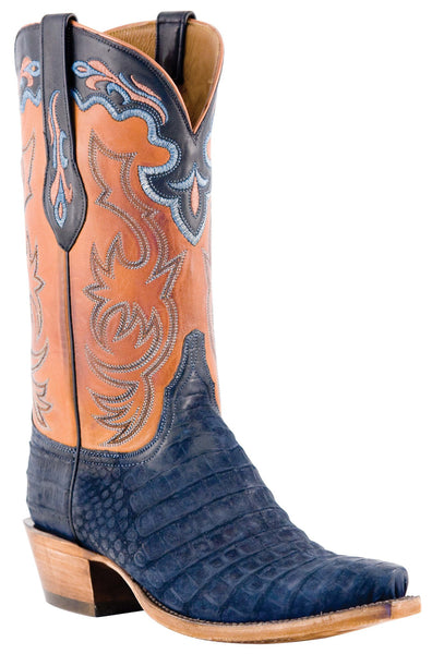 Lucchese Classics L1434.73 Mens Navy Suede Belly Caiman Boot