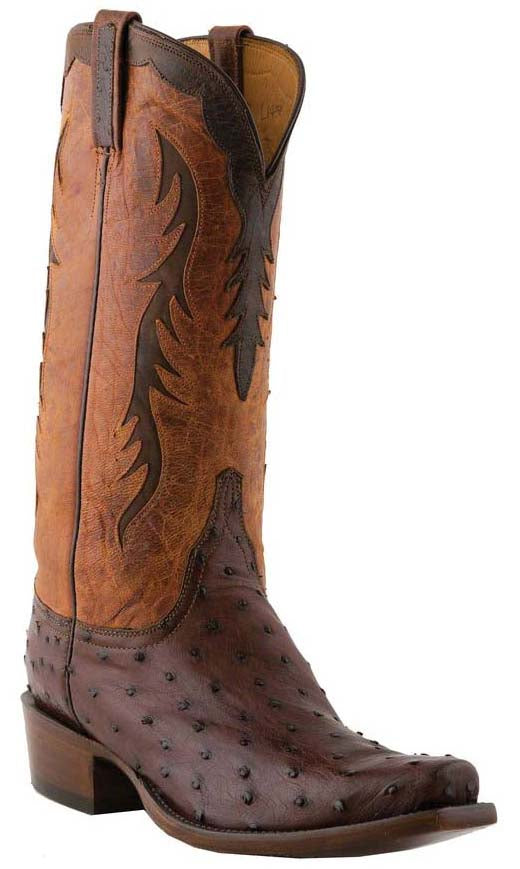 Lucchese Classics L1438 Mens Sienna Brown Full Quill Ostrich Boots