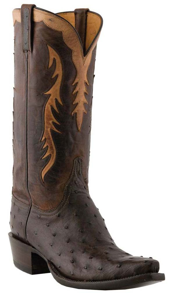 Lucchese L1440 Mens Nicotine Brown Full Quill Ostrich Cowboy Classics Boots