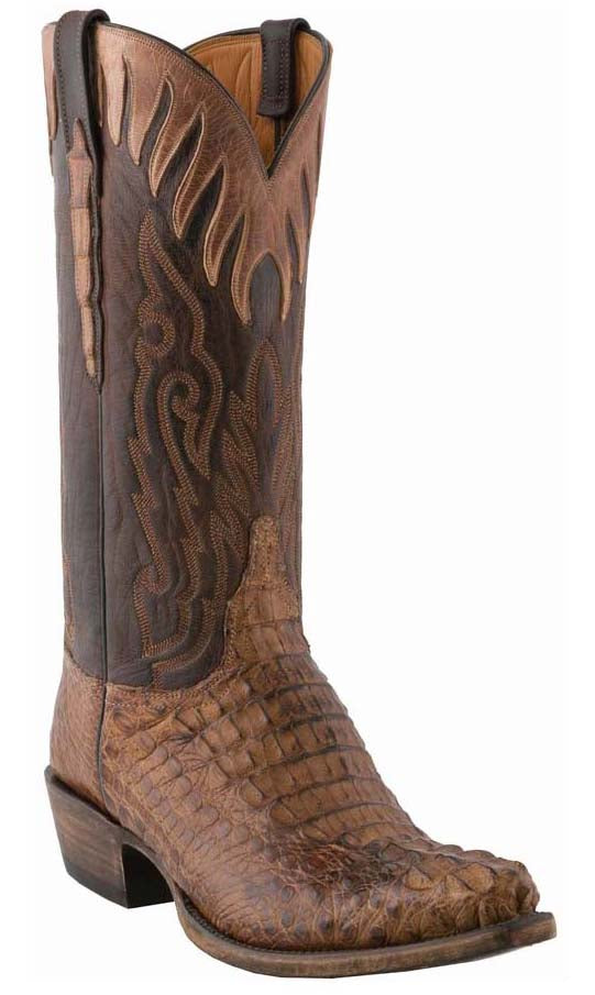 Lucchese Classics L1441 Mens Tan Burnished Mad Dog Horn Back Caiman Crocodile Cowboy Boots
