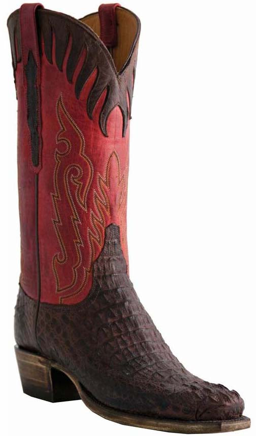 Lucchese L1443 Mens Barrel Brown Hornback Crocodile Cowboy Classics Boots