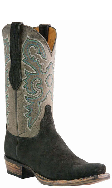 Lucchese Classics L1446 Mens Black Sueded Elephant Cowboy Boots