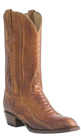 Lucchese L1448 Mens Brandy Burnished Ostrich Leg Cowboy Classics Boots