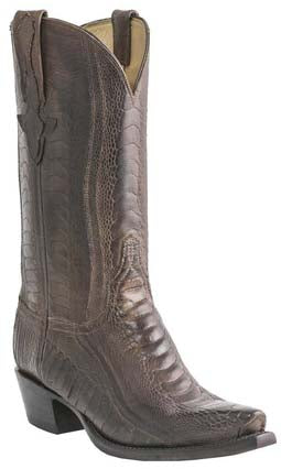 Lucchese Classics L1449 Chocolate Burnished Ostrich Leg Mens Boots