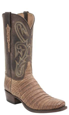 Lucchese Classics L1456 Mens Old Gold Ultra Belly Caiman Crocodile Boots