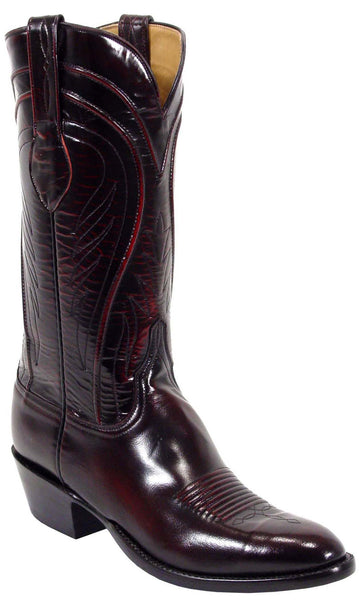Lucchese Classics L1505 Mens Black Cherry Goat Cowboy Boots