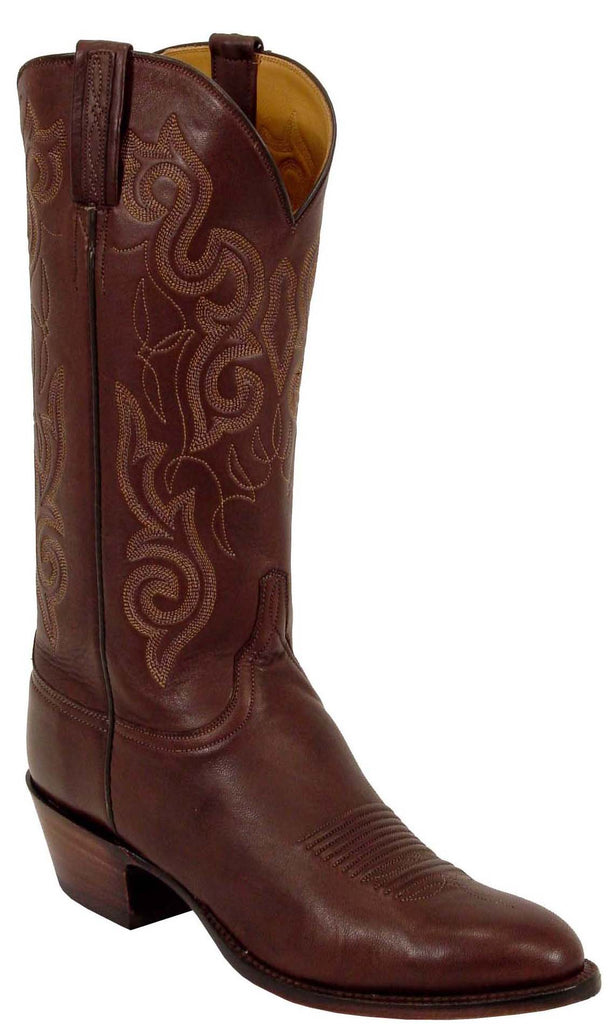 Lucchese L1563 Mens Chocolate Calfskin Cowboy Classics Boots
