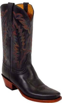 Lucchese L1567 Mens Black Oiled Calfskin Cowboy Classics Boots