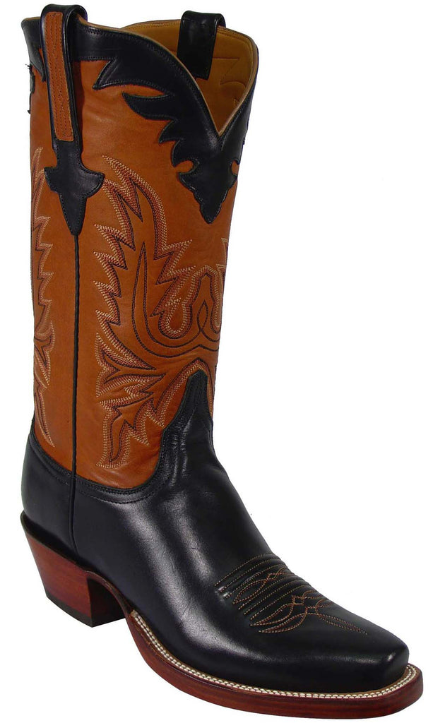 Lucchese Classics L1589 Mens Black Oil Calfskin Cognac Ranch Boot