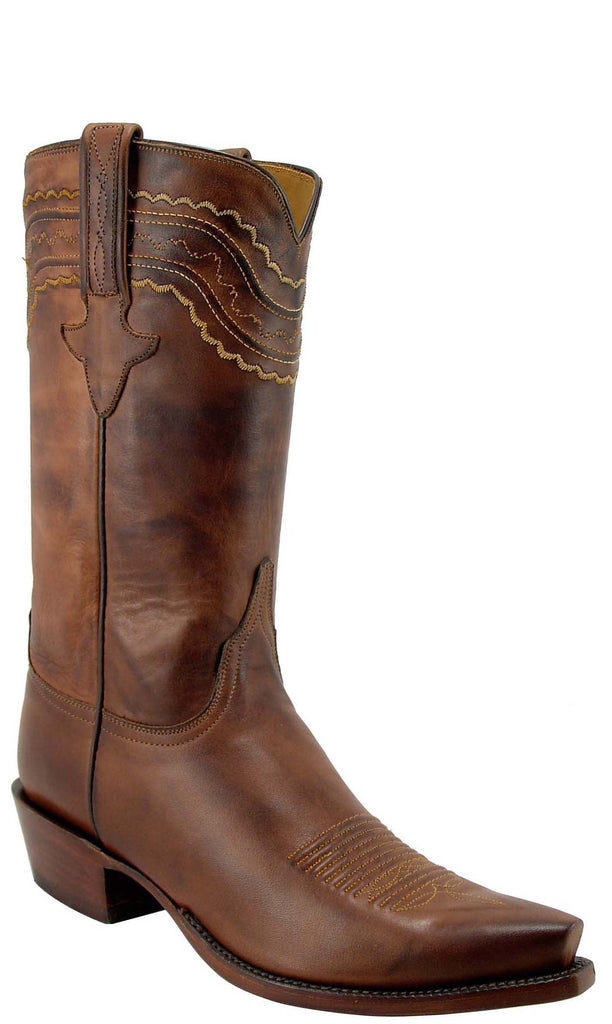 Lucchese Classics L1598 Mens Tan Burnished Ranch Hand Calfskin Boots