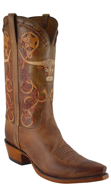 Lucchese L1604 Mens Tan Goat with Barbed Wire Hand Tooling Cowboy Classics Boots