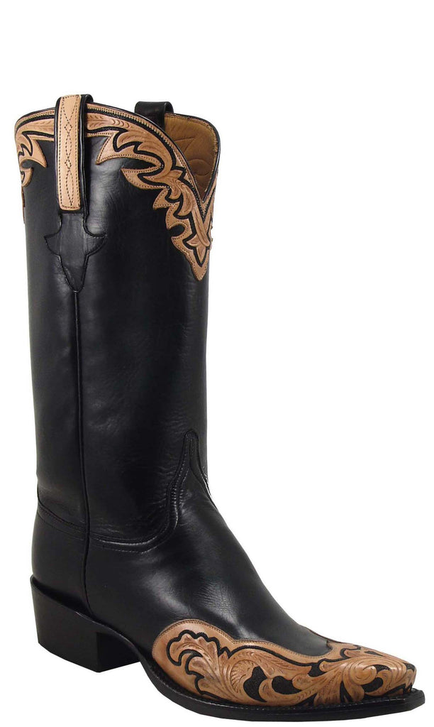 Lucchese L1609 Mens Black Calfskin with Hand Tooled Overlays Cowboy Classics Boots