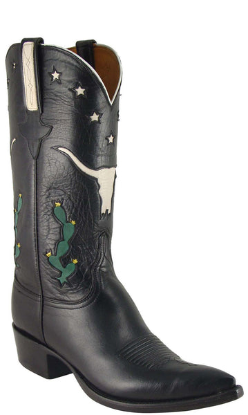 Lucchese L1619 Mens Black American Buffalo Cowboy Classics Boots