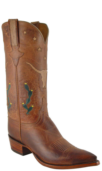 Lucchese L1620 Mens Tan Burnished Mad Dog Goat Cowboy Classics Boots