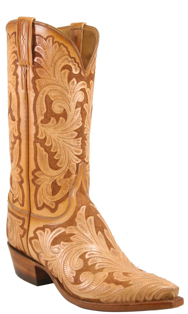 Lucchese Classics L1633 Mens Natural Caramel Hand Tooled Boot