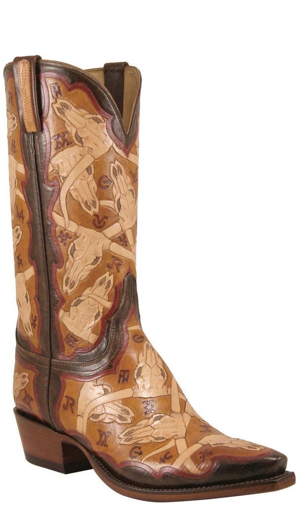 Lucchese Classics L1634 Mens Tan Brands And Skulls Hand Tooled Boot