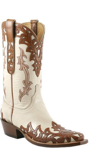 Lucchese Classics L1673 Mens Bone With Mahogany Goat Boots