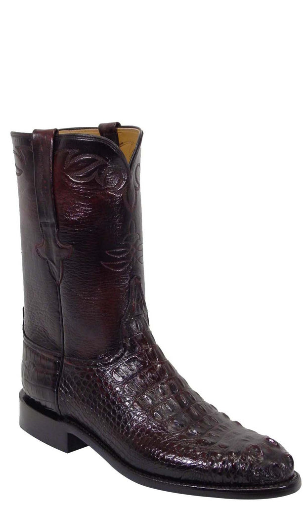 Lucchese L3000 Mens Black Cherry Hornback Alligator Roper Boots