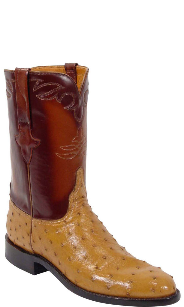 Lucchese L3086 Mens Saddle Tan Full Quill Ostrich Roper Boots