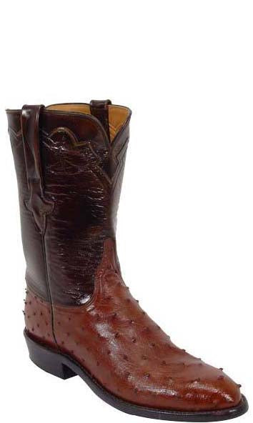 Lucchese Classics L3087 Mens Cigar Brown Full Quill Ostrich Roper Cowboy Boots