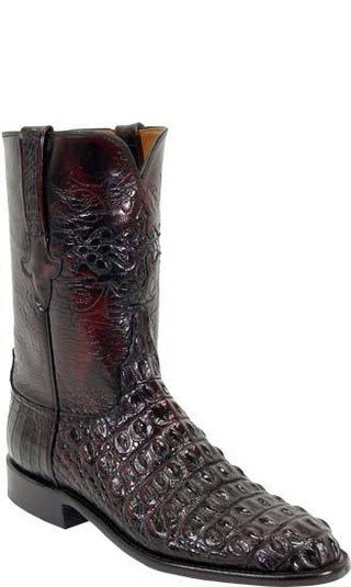 Lucchese L3130 Black Cherry Nile Crocodile Hornback Back Cut  Mens Classics Boots