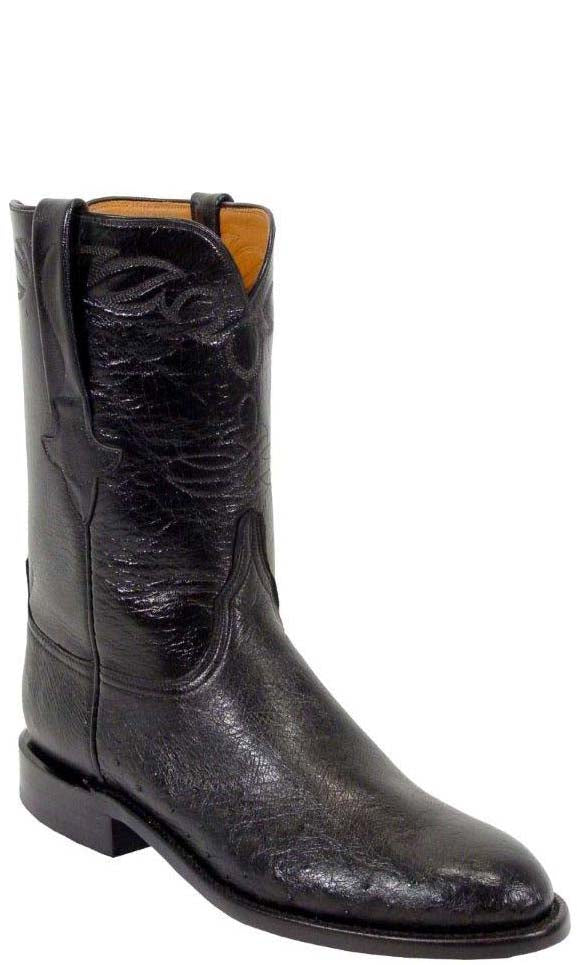 Lucchese L3137 Mens Black Smooth Ostrich Roper Classics Boots