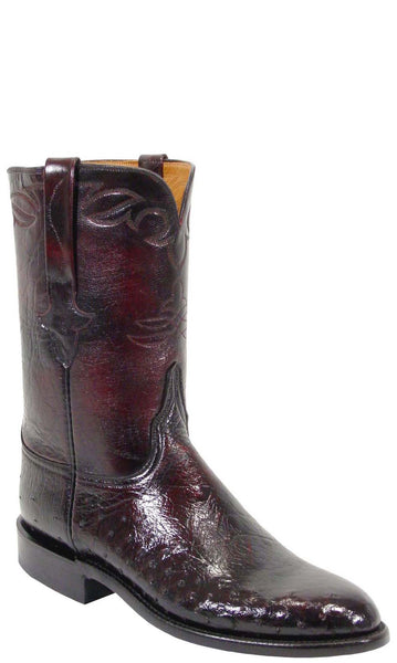 Lucchese L3138 Mens Black Cherry Smooth Ostrich Roper Classics Boots