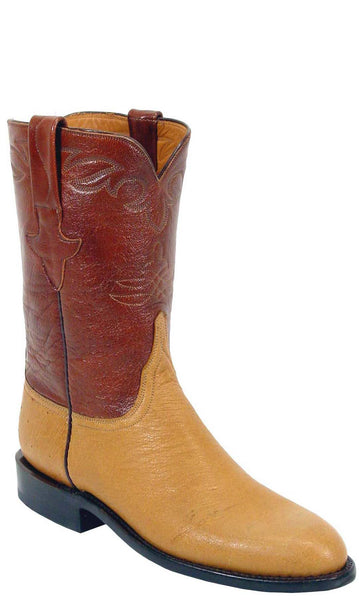 Lucchese Classics L3141 Mens Saddle Tan Smooth Ostrich Roper Boot