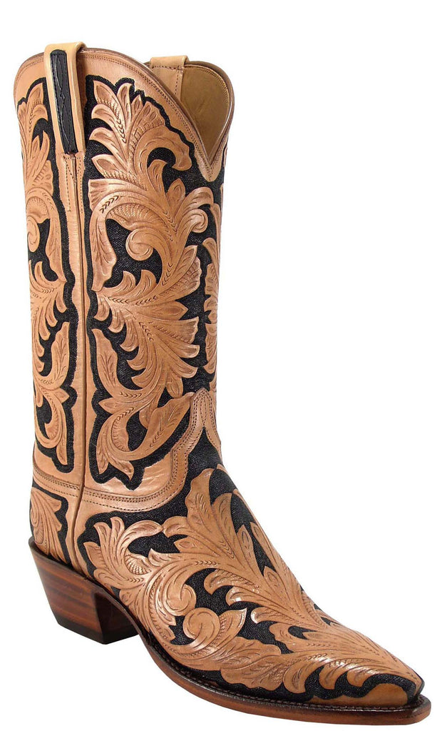 Lucchese L4099 Womens Natural Black Hand Tooled Cowboy Boots
