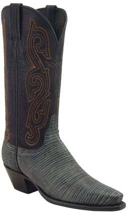 Lucchese Classics L4113 Black Sanded Lizard Womens Boots