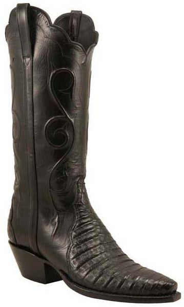 Lucchese L4125 Womens Black Crocodile Belly Classics Boots