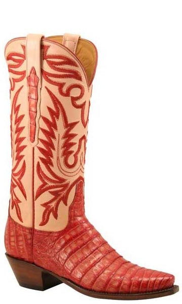Lucchese Classics L4129 Womens Strawberry Stanied Glass Caiman Crocodile Belly Boots
