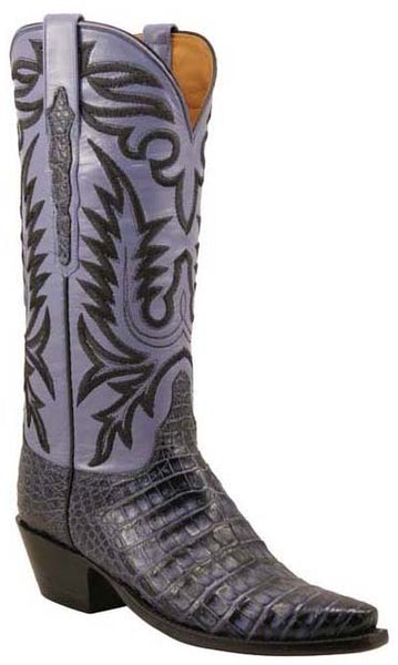 Lucchese L4130 Navy Stained Glass Caiman Crocodile Womens Classics Boots