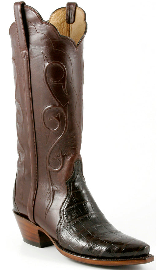 Lucchese L4135 Womens Chocolate Crocodile Belly Classics Boots