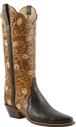 Lucchese L4139 Cigar Brown Lizard Womens Classics Boots