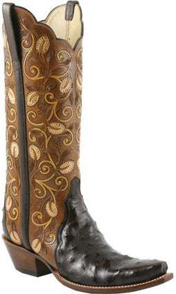 Lucchese L4142 Nicotine Full Quill Ostrich Womens Classics Boots