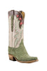 Lucchese Classics L4148 Womens Olive Suede Caiman Crocodile Boots