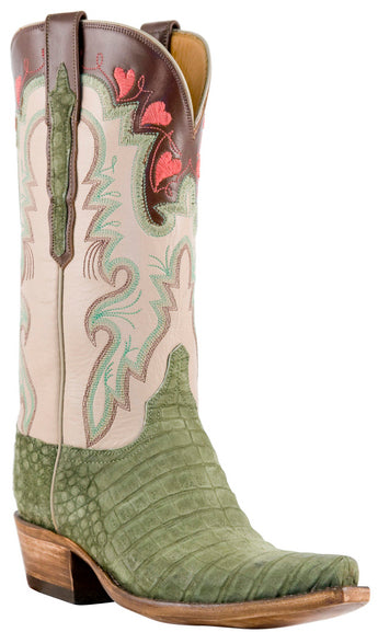 Lucchese L4148 Womens Olive Suede Caiman Crocodile Classics Boots