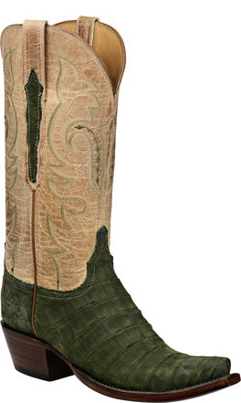 Lucchese L4174 Olive Sueded Belly Caiman Crocodile Womens Classics Boots