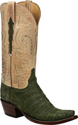 Lucchese Classics L4174 Olive Sueded Belly Caiman Crocodile Womens Boots