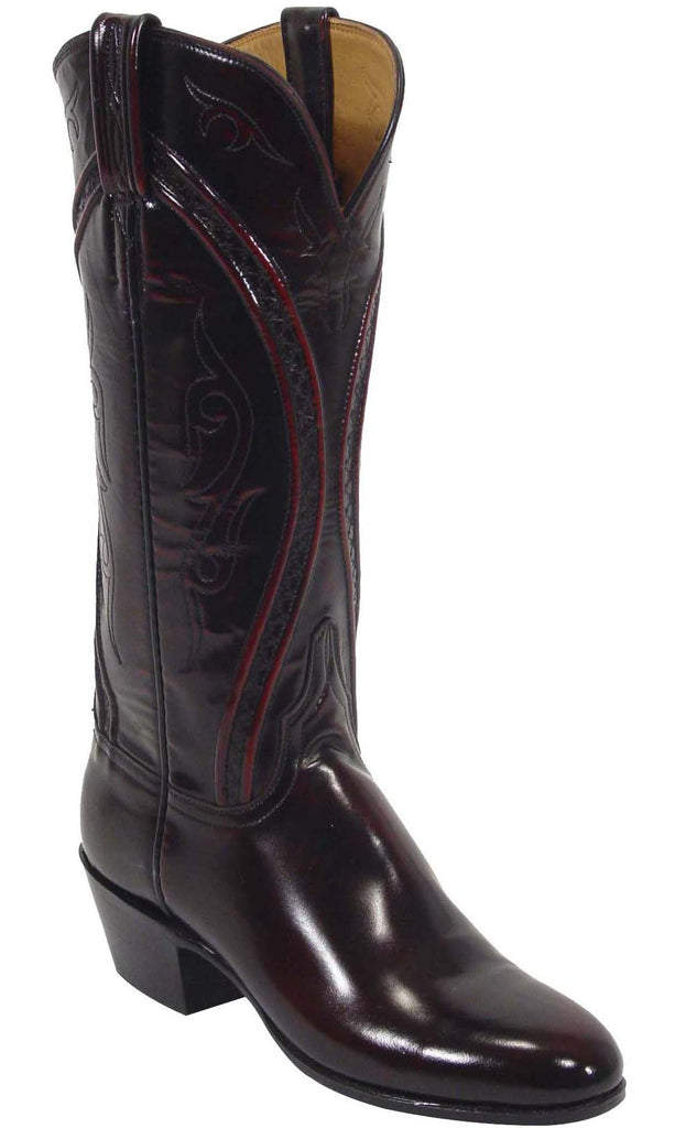 Lucchese L4509 Womens Black Cherry Goat Cowboy Boots