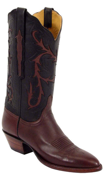 Lucchese L4542 Womens Chocolate Black Ranch Hand Calfskin Cowboy Boots