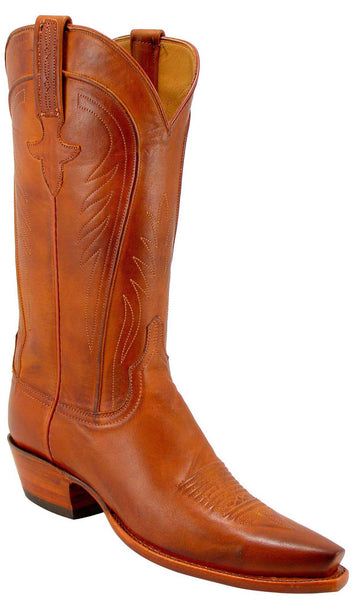 Lucchese L4589 Womens Cognac Burnished Ranch Hand Calfskin Boots