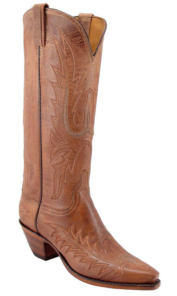Lucchese L4605 Womens Tan Burnished Mad Dog Goat Cowboy Boots