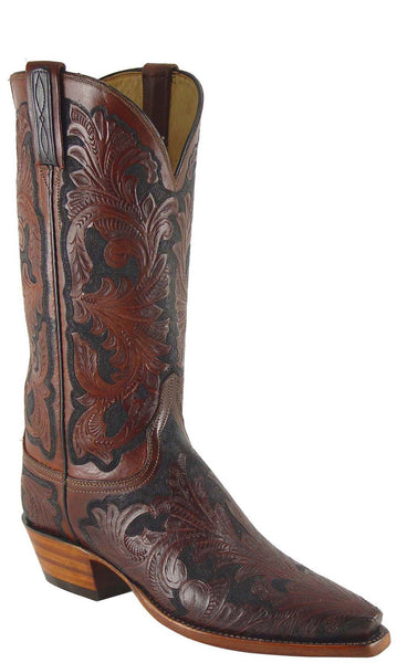 Lucchese Classics L4614 Womens Mahogany Black Hand Tooled Boot