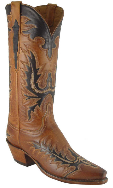Lucchese L4624 Womens Honey Burnished Ranch Hand Calfskin Boots