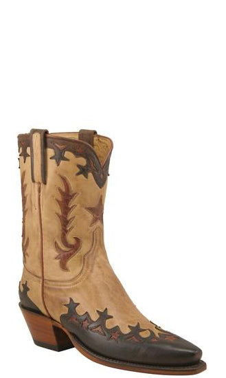 Lucchese Classics L4647.54 Saddle Tan Ranch Hand Calfskin Womens Boots Size 7.5 B STALL STOCK