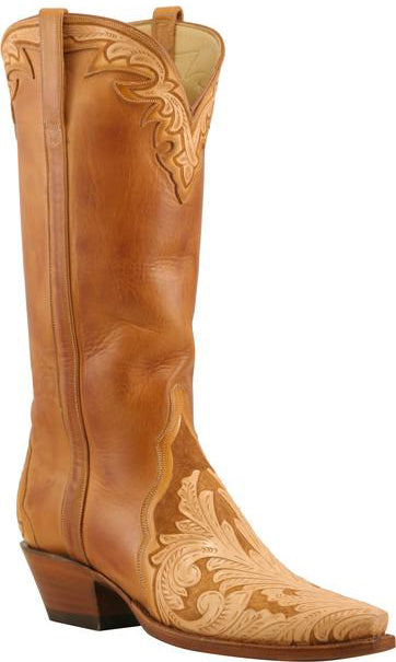 Lucchese L4657 Womens Caramel Hand Tooled Honey Burnished Ranch Hand Calfskin Boots