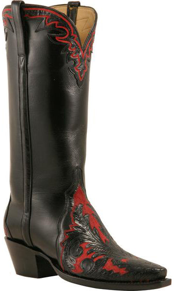 Lucchese L4658 Womens Black Hand Tooled Wingtip Red Painted Boots